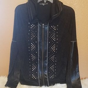 Miss Me-Hooded Jacket with Criss Cross Back